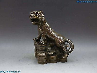 "6"" China brass copper fine Feng Shui money YuanBao lucky Tiger Sculpture Statue"
