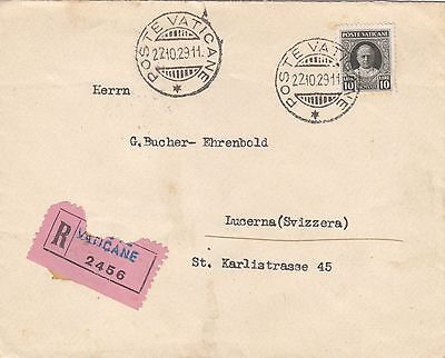 Vaticane Vatican 1929 Registered Single Franking Cover 10 Lire To Switzerland