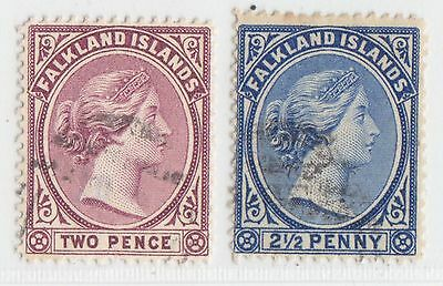 Falkland Islands 1891 Issue Used Stamps Scott 13+15 = Sg. 25+28