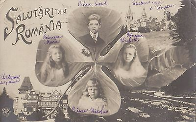 Romania  1909 Royalty Vintage Picture Postcard To France Showing Royal Family