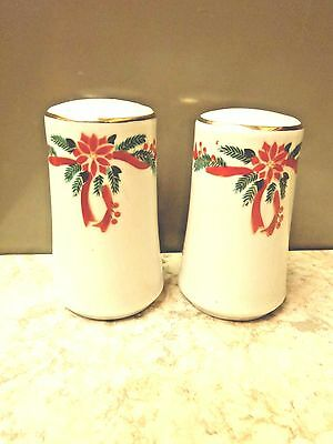 Fairfield China Tienshan Poinsettia and Ribbons Salt and Pepper Shaker Set