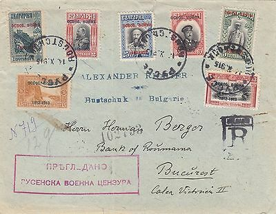 Bulgaria 1915 Registered Cover With Censor Sent To Bucarest Romania