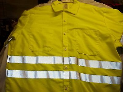 Reflective Safety Hi-Viz Work Shirt Long Sleeve Safety Yellow Size: X-Large