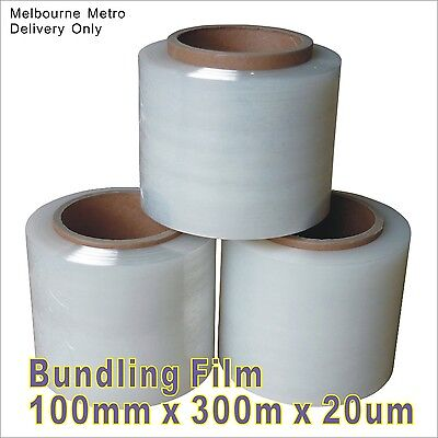1~8 Rolls Bundling Film Clear 100mm x 300m x 20um Stretch  Wrap Pallet Wrapping