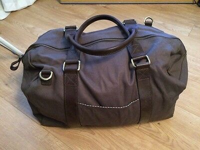 JOHN LEWIS & Co. Sao Paulo Canvas Leather Trim Holdall, Charcoal