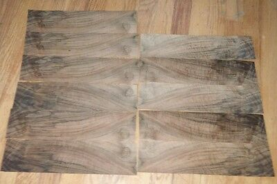 "5 pieces Walnut raw wood veneer 14"" x 3 1/2"" 1/42 thick curly figure table"