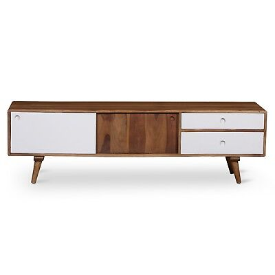 Solid Wood Timber Industrial Vintage Scandinavian Retro TV Entertainment Unit 82
