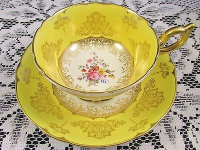 Coalport Yellow Ornate Gold Designs Hp Floral Tea Cup And Saucer