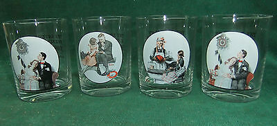 The Saturday Evening Post Norman Rockwell Glass Tumblers Set of 4 Glassware Coll
