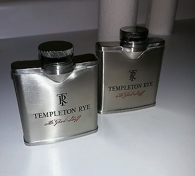 "Two(2) Templeton Rye Whiskey Flask 4x 3.5"" Stainless Steel with The Good Stuff"