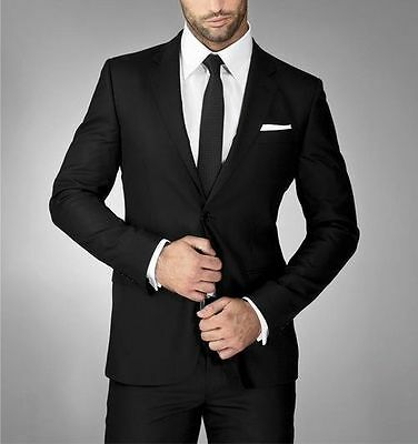 Slim Fit Black Formal Men Suits for Wedding Party Best Man Dinner Tuxedos Suit