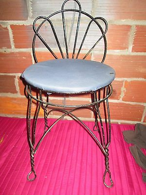 Vintage Antique Wrought Iron Twisted Metal  Seat VANITY Chair