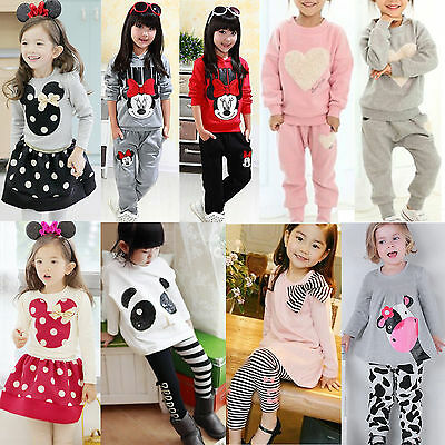 2pcs Kid Baby Girls Clothes Tracksuit Top T Shirt +Pants Outfits Set Casual Suit