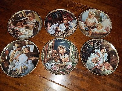 Sandra Kuck Moments at Home Cat Collector Plate Set of 6 Plates