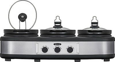 Triple Slow Cooker Stainless Steel Buffet Server Black 3 x 2.5-Quart Warm Tray