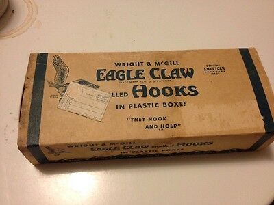 Vintage 60s Wright And McGill Eagle Claw Snelled Hooks Store Display (dd)
