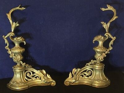 Exquisite Vintage French Bronze Rococo Andirons Chenets Louis XV Style  1900's
