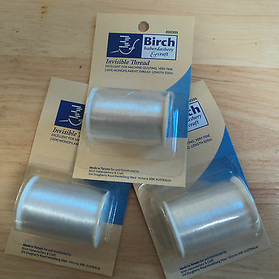 Invisible Thread for Quilting ~ 3 Spools of 500 Metres ~ Clear or Smoke Colour