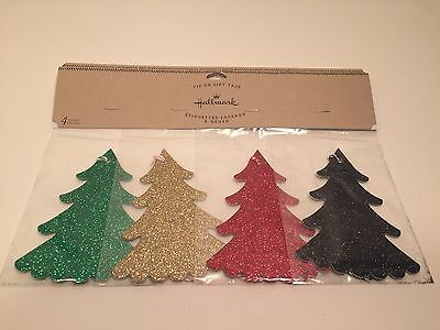 Hallmark Christmas Tie-On Gift Tags Glitter Trees 4 Count