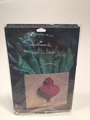 Hallmark Christmas Gift Trim Red Honeycomb Ornament 2-Count