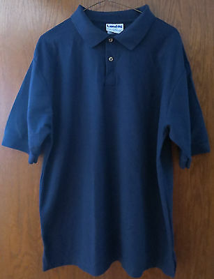 student Unisex S adult POLO shirt School WORK Uniform Navy Blue KNIT collar new