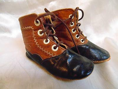 Antique Victorian TWO TONE Brown Black Patent LACE UP Baby Shoes Doll BOOTS
