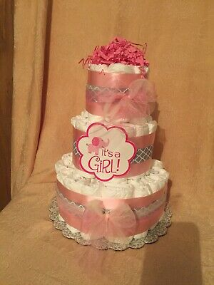 3 Tier Diaper Cake Pink Silver Gray Chevron  Little Peanut Elephant Baby Shower