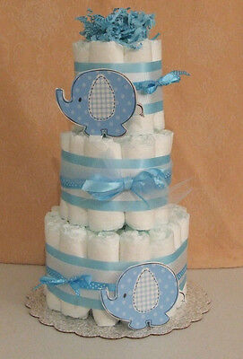 3 Tier Diaper Cake Umbrellaphant Blue Peanut Elephant Baby Shower Centerpiece