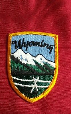 """State of Wyoming  state PATCH Emblem Aprox 2.75"""" x 2. MOUNTIANS"""