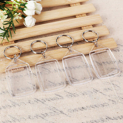 100pcs Clear Acrylic Blank Keyrings Photo Insert Frame Keyrings DIY Key Ring AU