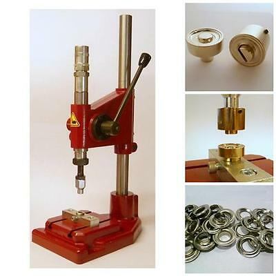 Spring blow press + 1000 Eyelets silver rust-free 14mm according to DIN 7332,