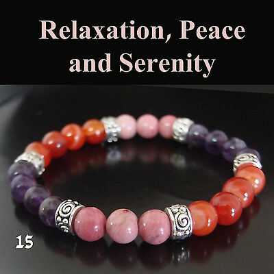 """Relaxation, Peace and Serenity  AGATE RHODONITE Amethyst Bracelet  7"""""""
