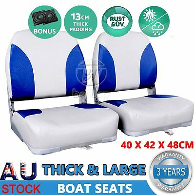 2 X Deluxe Swivel Folding Boat Seats Marine All Weather White &Blue Set