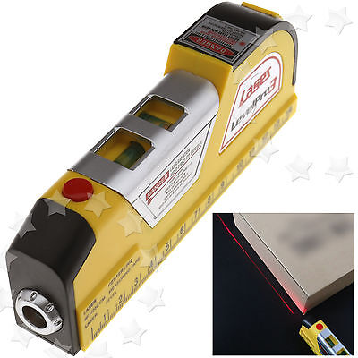 2.5m Horizontal Vertical Line Laser Level Measure Tape Ruler Aligner Tool Kit