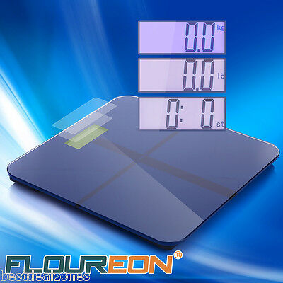 UK Digital Electronic LCD Glass Bathroom Body Weight Weighing Scales 180KG Blue