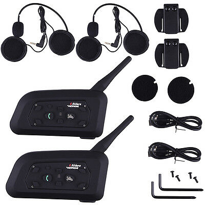 2Pcs V6-1200 BT Motorcycle Helmet Interphone Intercom Headset w/6 Riders EU Plug