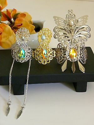 BJD doll Crown Gold Rhinestone bead Silver Feather chain Ornate pearl butterfly