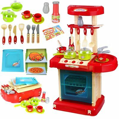 HOT Red Electronic Children Kids Kitchen Cooking Girl Boy Toy Cooking Play Set