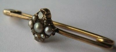 Antique old cut diamond and seed pearl bar brooch 15ct