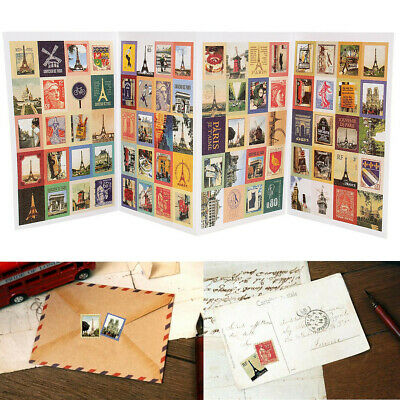 1/2 Set 4 Sheets 80Pcs Paper Scrapbooking Card Stamp Stickers Label Decoration