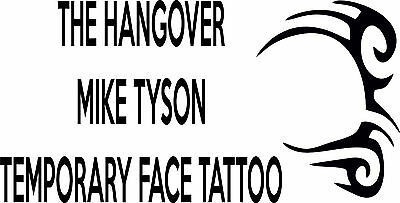 The Hangover Mike Tyson Temporary Tattoo Stag Night Party Transfer