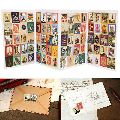 4 Sheets 80Pcs Paper Scrapbooking Card Stamp Stickers Label Decoration 6 Styles
