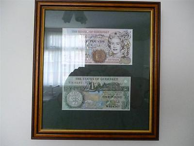 A Framed set of  Guernsey £5 and £1 notes in mint and uncirculated condition.