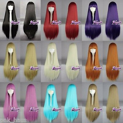 Black/Pink/Blue/Blonde/Purple Long 80CM Straight Fashion Cosplay Wig with Bangs