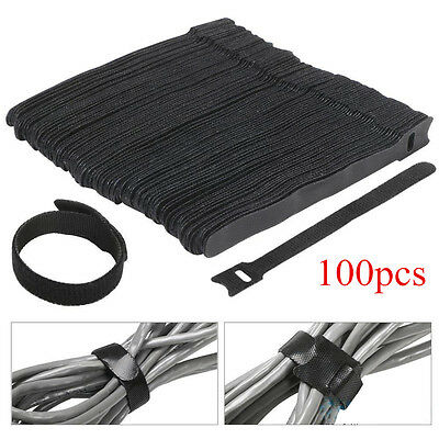100Pcs Reusable Nylon Velcro Hook Loop Cable Cord Ties Tidy Straps Organiser