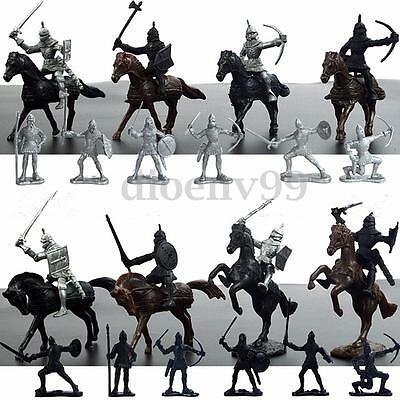 28Pcs Medieval Knights Warriors Horses Soldiers Figures Model Playset Kids Toy