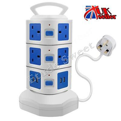 Tower Extension Lead Surge Protected Vertical Power Strip 4 USB10 Way Outlets