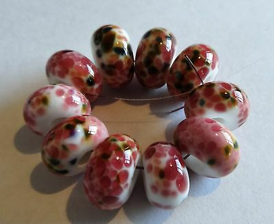 10 White With Multi Pink Frit Spacer Lampwork Beads Sra