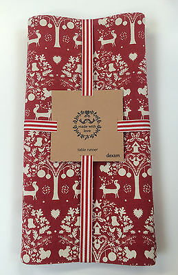 Dexam Winter Woodland Fabric Table Runner 40 x 200cm Red Nature Nordic Folk New
