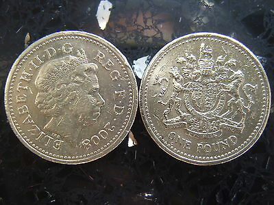 Rare 2008 One Pound Coin £1 - Royal Arms - Circulated Coin Hunt -Low Mintage